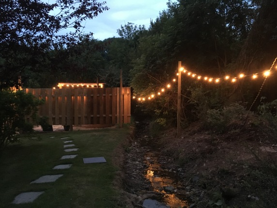 Outdoor lighting to hot tub