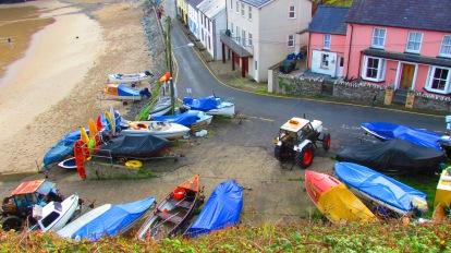 Llangrannog beach - boat yard