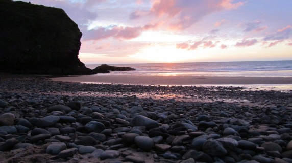 Llangrannog beach - pebble sunset